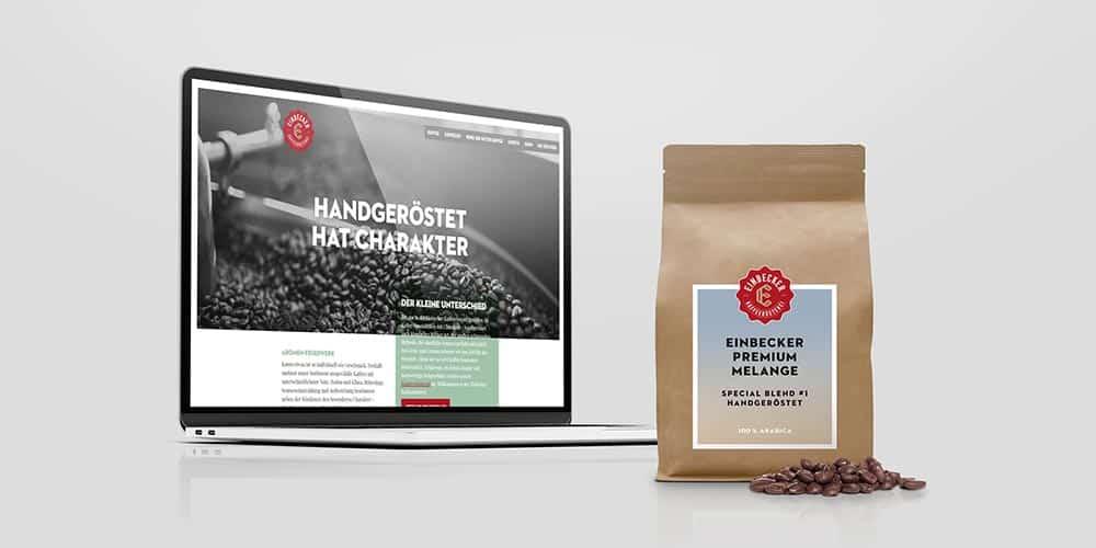 Einbecker Kaffeerösterei   Webdesign inkl. Texte & Programmierung, Produktdesign, Print-Design